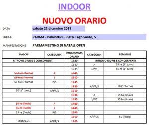 Fidal It Calendario.Nuovo Orario Gare 22 Dicembre Cus Parma A S D